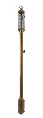 Lot 52 - A Brass Ship's Type Barometer, 20th century, concealed mercury tube with single vernier...