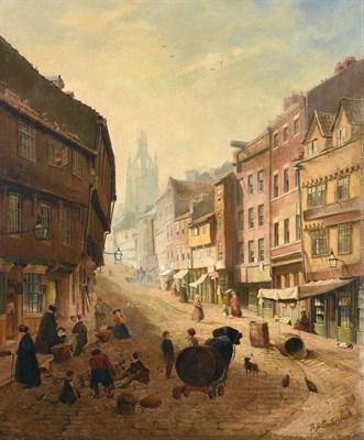 Lot 53 - Samuel Dukinfield Swarbreck (Ex. 1852-1863)   Old Newcastle street scene with figures   Signed, oil