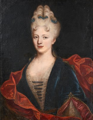 Lot 54 - French School (18th century)   Portrait of a lady, half length, wearing a blue velvet dress trimmed