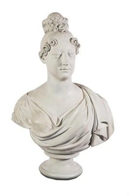 Lot 56 - A Regency Plaster Bust of Charlotte Augusta, Princess of Wales, 1796-1817, by F Hardenberg,...