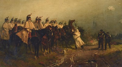 Lot 60 - Ernest Crofts RA (1847-1911)  Soldiers on horseback with the walking wounded nearby  Signed, oil on