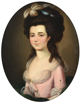 Lot 63 - William Shuter (fl.1771-1779)  Portrait of a young lady, half length, wearing a pink silk dress and