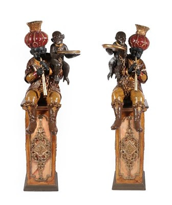 Lot 67 - A Pair of Venetian Polychrome Decorated and Parcel Gilt Blackamoor Figures, late 19th century, each