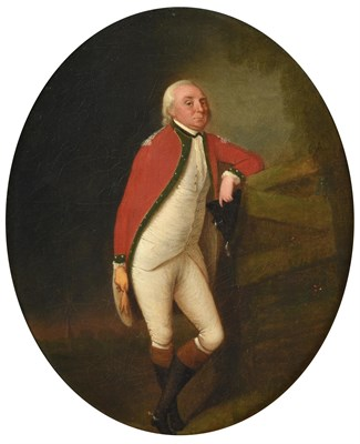Lot 69 - Circle of Thomas Hickey (1741-1824)  Portrait of a gentleman, full length, standing, leaning on...