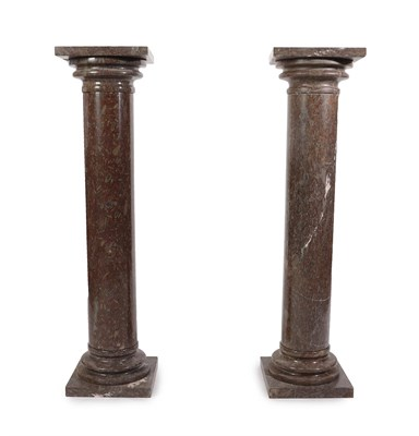 Lot 70 - A Pair of Fossilitic Marble Floor Standing Columns, 19th century, each with square shelves on...