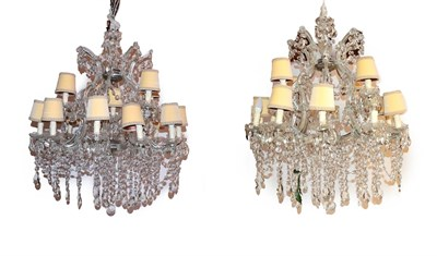 Lot 71 - A Pair of Cut Glass Seventeen-Light Chandelier, in Victorina style, the scroll branches hung...