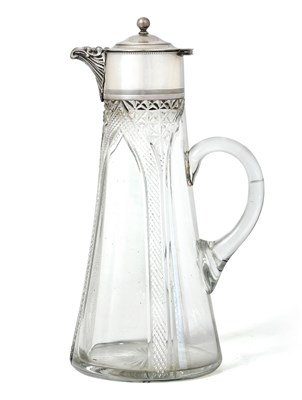 Lot 72 - A George V Silver-Mounted Cut-Glass Claret-Jug, by Martin Hall and Co. Ltd., Birmingham, 1918,...