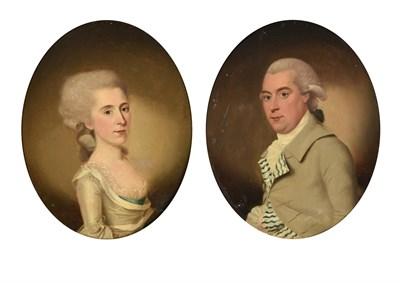 Lot 74 - Circle of John Downman ARA (1750-1824)  Portrait of gentleman, half length, in a grey coat with...
