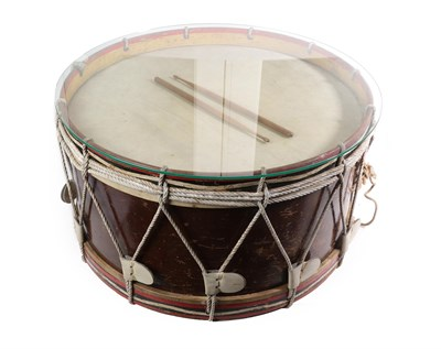 Lot 80 - A Ceremonial Bass Drum With Glass Top, the painted wooden sides with the insignia of the 4th...