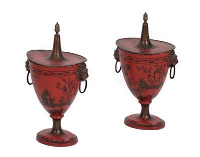 Lot 85 - A Pair of Toleware Chestnut Urns and Covers, in Regency style, with acorn finials and lion mask and