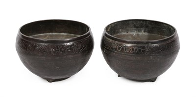 Lot 89 - A Pair of Chinese Patinated Bronze Jardinieres, late 19th century, the exteriors decorated with...