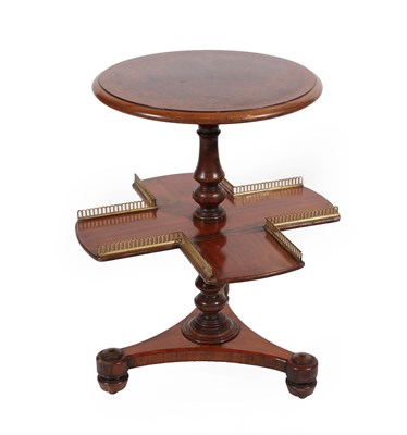 Lot 93 - A Victorian Walnut and Brass Mounted Revolving Book Stand, 19th century, the circular top over...