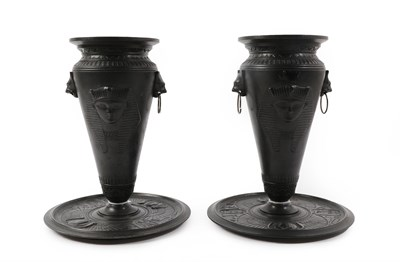 Lot 95 - A Pair of Grand Tour Spelter Vases, in Egyptian style, with cat mask ring handles and pseudo...