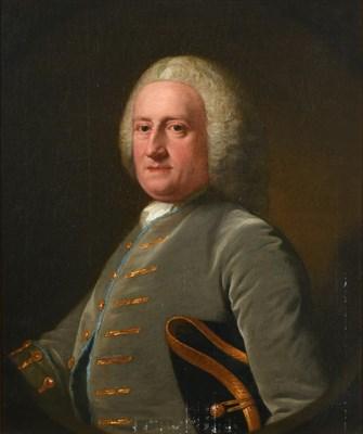 Lot 97 - Circle of Arthur Pond (1701-1758)  Portrait of a gentleman, half length, wearing a grey velvet...