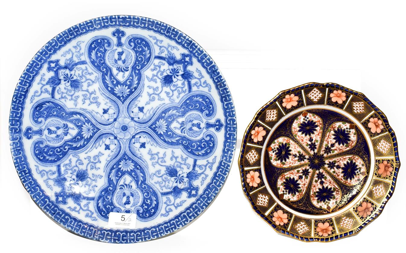Lot 5 - A Royal Crown Derby Imari plate, 23cm diameter and a Japanese blue and white dish, 31cm...
