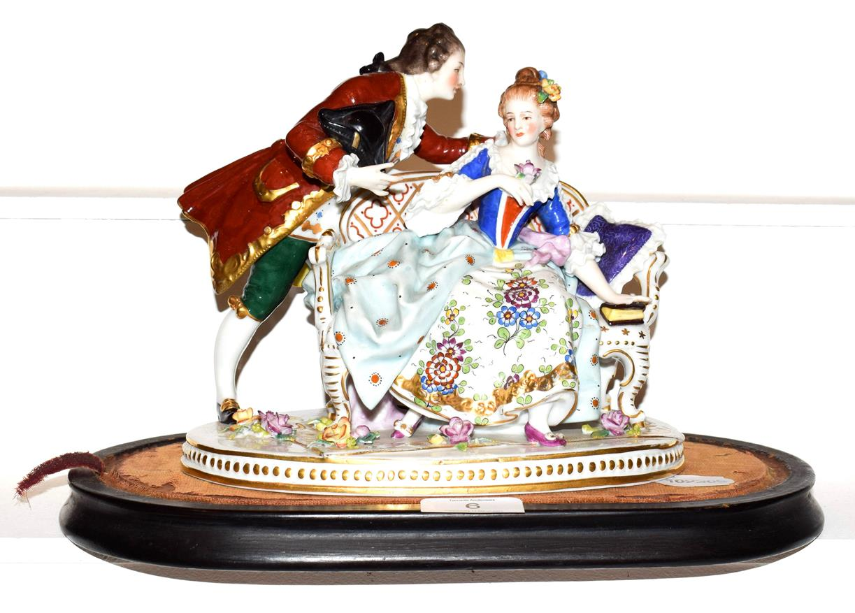 Lot 6 - A Samson of Paris figure group with faux Chelsea anchor mark, 20cm wide by 18cm high
