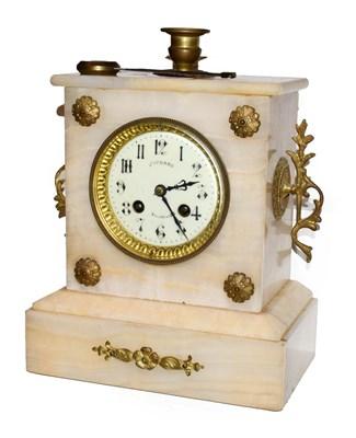 Lot 7 - An alabaster French striking mantel clock, circa 1910, 28cm high