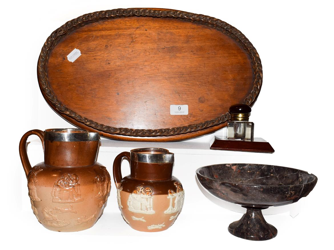 Lot 9 - Various items including a Royal Doulton salt glazed stoneware harvest jug with silver mount and...
