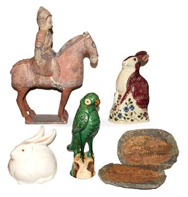 Lot 11 - A collection of ceramics including a Rye pottery model of a seated hare, a Japanese...