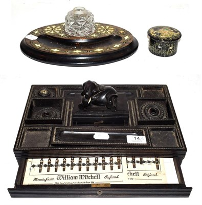 Lot 14 - A 19th century Anglo Indian ebony desk Standish surmounted by an elephant, a Victorian...