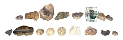 Lot 21 - A tray of geological specimens including an agate slice, amethyst and fossilized sea urchins...