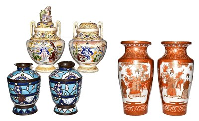 Lot 22 - A pair of Japanese Meiji period Kutani vases, a pair of Satsuma style koro and a pair of Syrian...