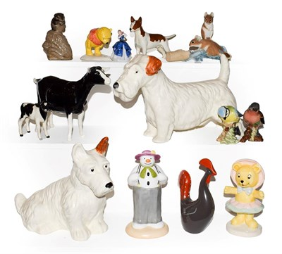 Lot 26 - Beswick, Royal Doulton and other figures including an I.O.M Shebeg goat