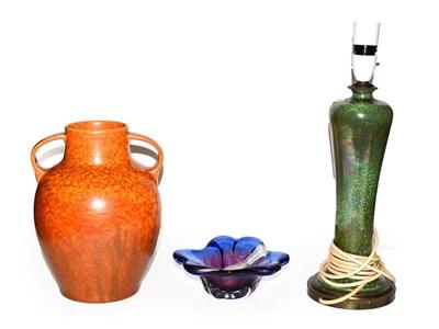 Lot 31 - A Royal Lancastrian twin handled mottled orange glazed vase, a similar iridescent lamp base and two