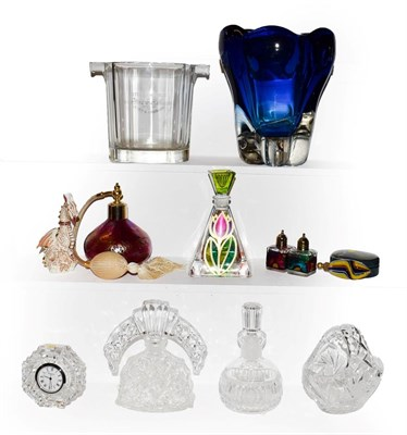 Lot 34 - A tray of assorted glass ware including, Whitefriars kingfisher blue vase, Moet & Chandon wine...
