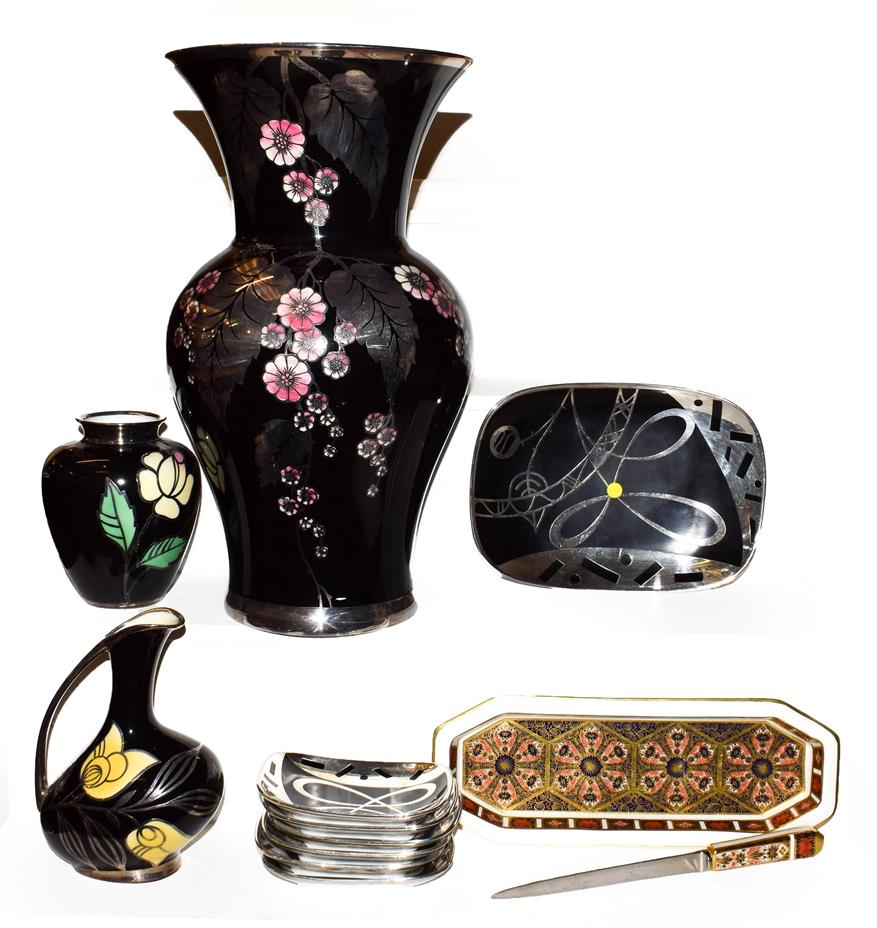 Lot 35 - An Art Deco silvered porcelain Silberporzellan Pluderhausen vase and similar pieces together with a