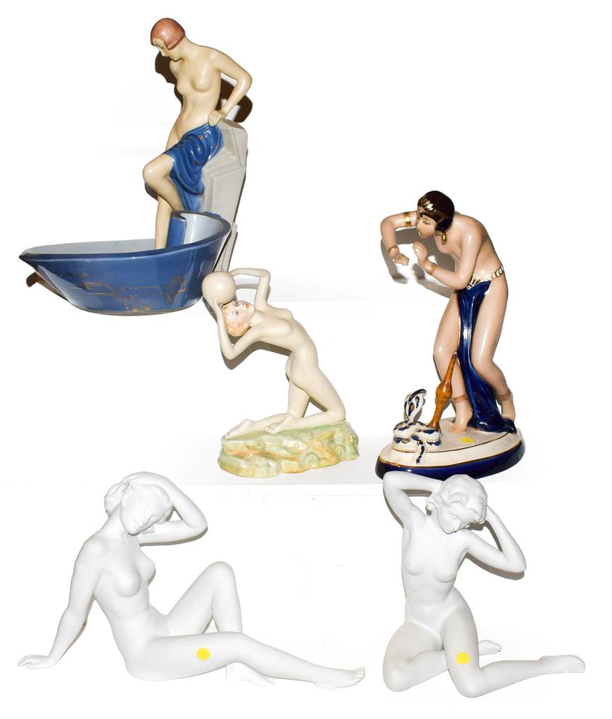 Lot 36 - An Art Deco Royal Dux figural dish, together with a similar Crown Devon figure designed by Kathleen