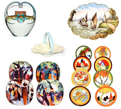 Lot 37 - A Limoges hand painted dish decorated with a coastal scene, an Art Deco pottery basket, a...