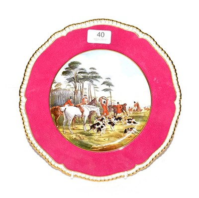 Lot 40 - A Copeland Spode cabinet plate, decorated in print and enamel with a hunting scene after J. F....