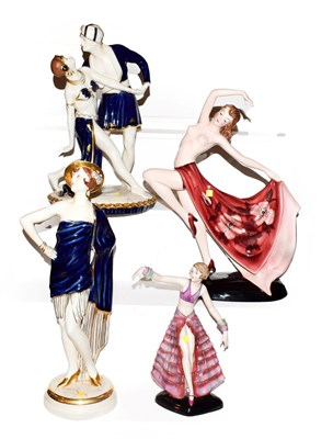 Lot 45 - An Austrian Art Deco figure of a dancing girl stamped Keramos, two Royal Dux figures and...