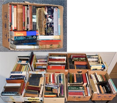 Lot 58 - Eleven boxes of books including novels, geographical, ornithological and other reference etc