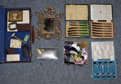 Lot 63 - Assorted items including three cased flatware's (one a set of silver handled butter knives), plated