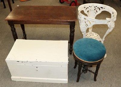 Lot 66 - White painted pine hinged chest, piano stool, early 20th century oak side table and a white painted