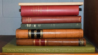 Lot 73 - A small quantity of books including leather bound ledger and an inventory, the Institution of Naval