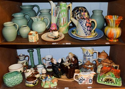Lot 74 - A large quantity of Art Deco pottery including Lovatts, Sylvac, cottage and Torquay wares etc...