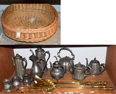 Lot 75 - A quantity of metalware's including Pewter, brass fire irons and a wicker basket (two shelves)