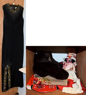 Lot 76 - Circa 1960s Hetty Bradley black silk crepe sleeveless evening dress with silver and gold bead...