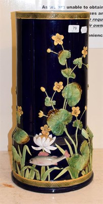 Lot 79 - George Jones majolica stick stand moulded with water lilies and fish impressed mark, 55cm high