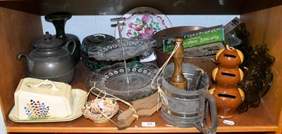 Lot 84 - Assorted kitchenalia and other items, to include a pair of butter pats, treacle glazed money...