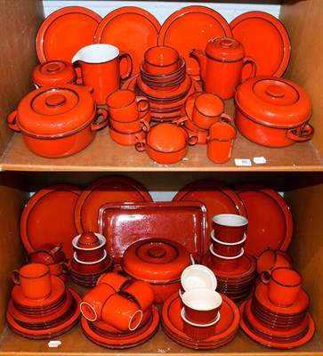 Lot 85 - A large quantity of Thomas Flammfest red glazed cookware (two shelves)