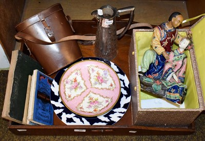 Lot 86 - An oak butlers tray, a silver mounted cut glass claret jug (a.f.), a cased pair of Ross binoculars
