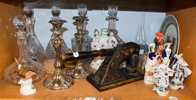 Lot 87 - Assorted items including a pair of silver plated candlesticks, five glass decanters,...
