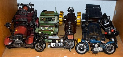 Lot 88 - Seven painted metal vehicle models, Willis Jeep, fire engine and motor cycles, etc