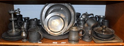 Lot 91 - A quantity of 18th century and later Pewter, to include a small plate engraved with a roundel...