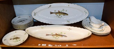 Lot 92 - A Richard Ginori Porcelain fish service comprising two platters, two serving dishes, sauce boat and