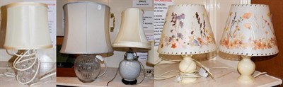Lot 93 - An Atlantis crystal table lamp together with a cut glass based table lamps, a crackle glazed...